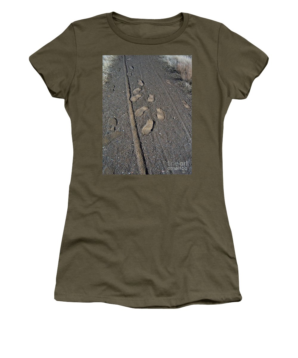 Prescott Women's T-Shirt featuring the photograph Tire Tracks And Foot Prints by Heather Kirk