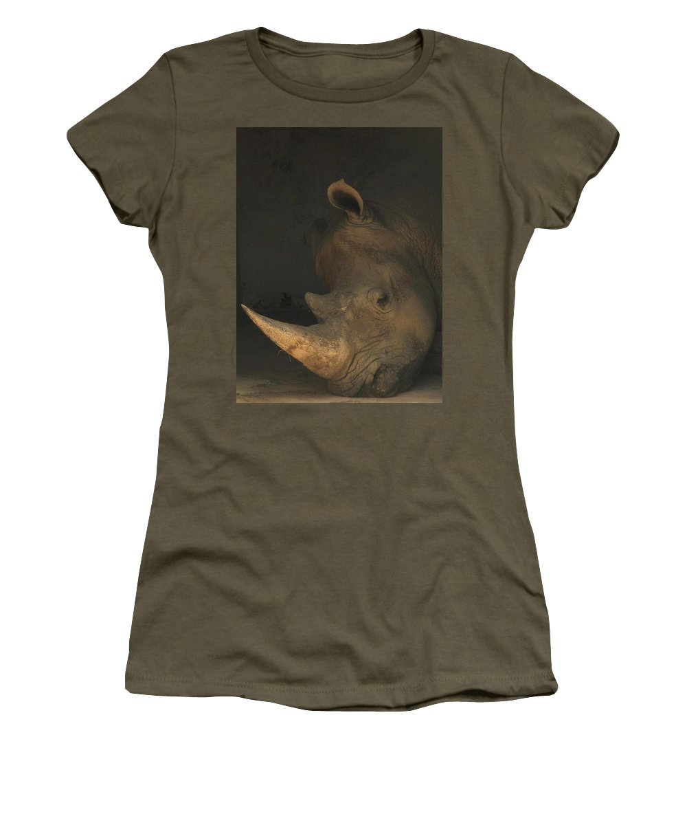 Tired Women's T-Shirt (Athletic Fit) featuring the photograph Tired Rhino by Matthew Kramer