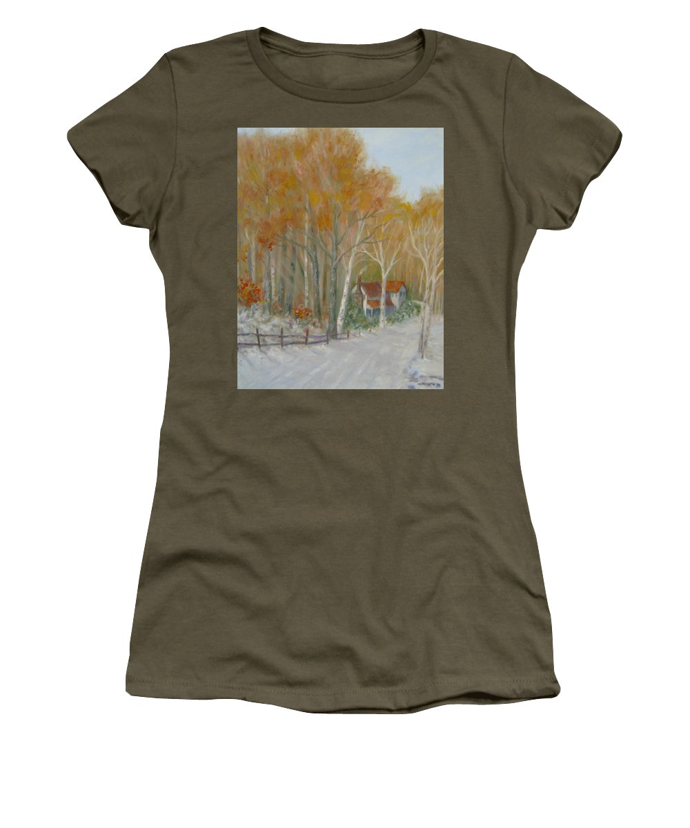 Country Road; House; Snow Women's T-Shirt (Athletic Fit) featuring the painting To Grandma's House by Ben Kiger