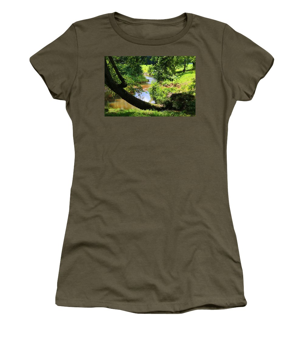 Toms Creek Women's T-Shirt (Athletic Fit) featuring the photograph Toms Creek In Summer 1 by Kathryn Meyer