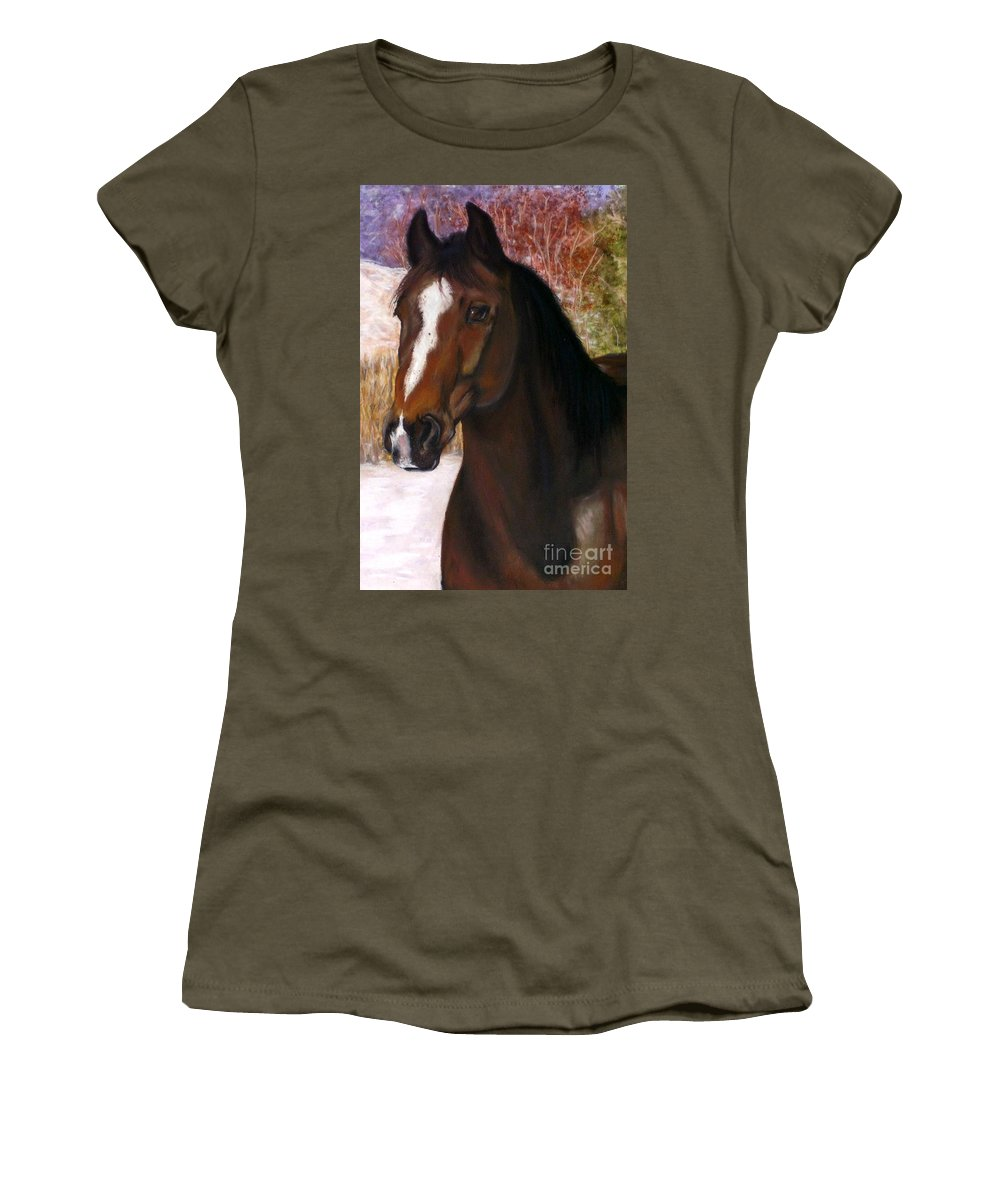 Horse Women's T-Shirt featuring the painting Toronto by Frances Marino
