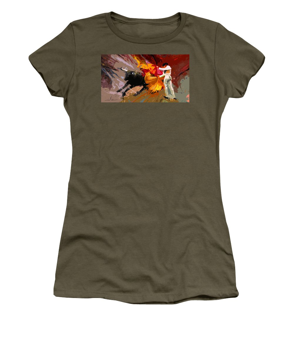 Animals Women's T-Shirt (Athletic Fit) featuring the painting Toroscape 04 by Miki De Goodaboom
