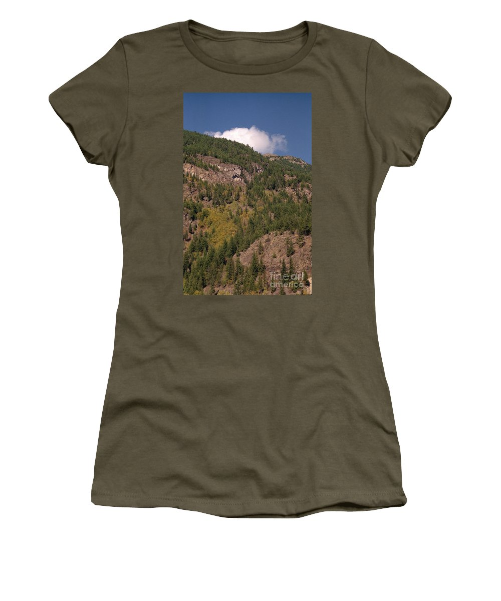 Mountains Women's T-Shirt (Athletic Fit) featuring the photograph Touching The Clouds by Richard Rizzo