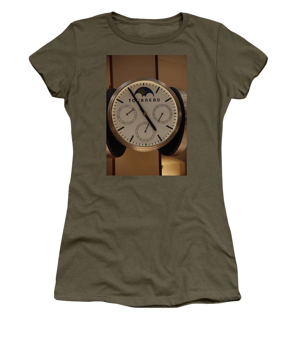 Clock Women's T-Shirt featuring the photograph Tourneau by Rob Hans