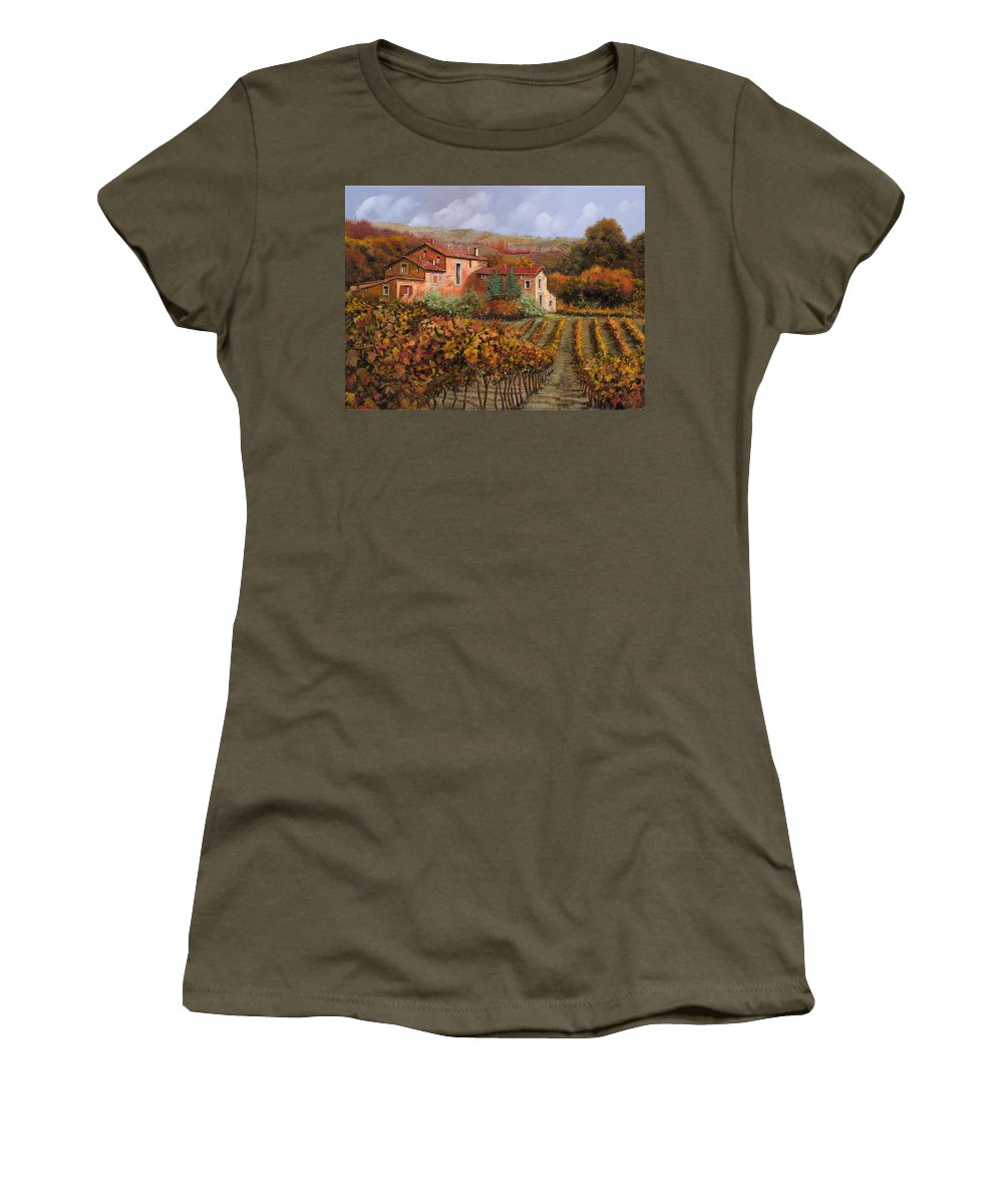 Wine Women's T-Shirt featuring the painting tra le vigne a Montalcino by Guido Borelli