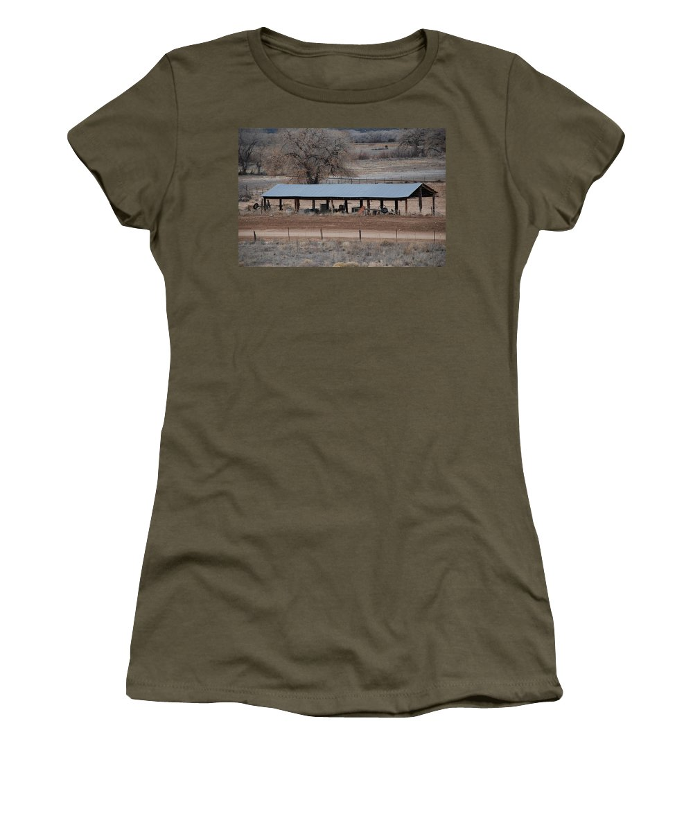 Architecture Women's T-Shirt featuring the photograph Tractor Port On The Ranch by Rob Hans