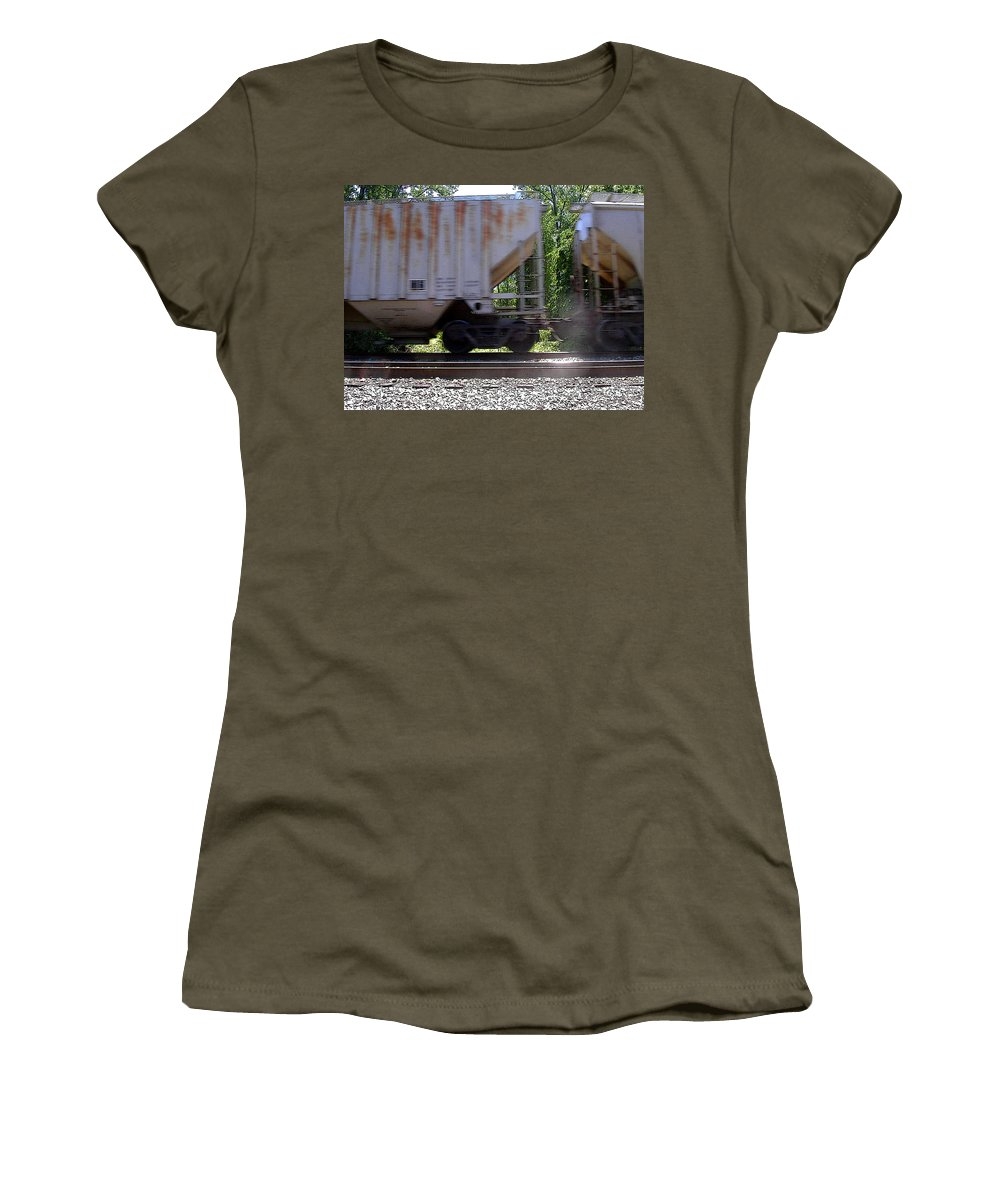 Train Women's T-Shirt (Athletic Fit) featuring the photograph Train Cars With Light Spots by Anne Cameron Cutri