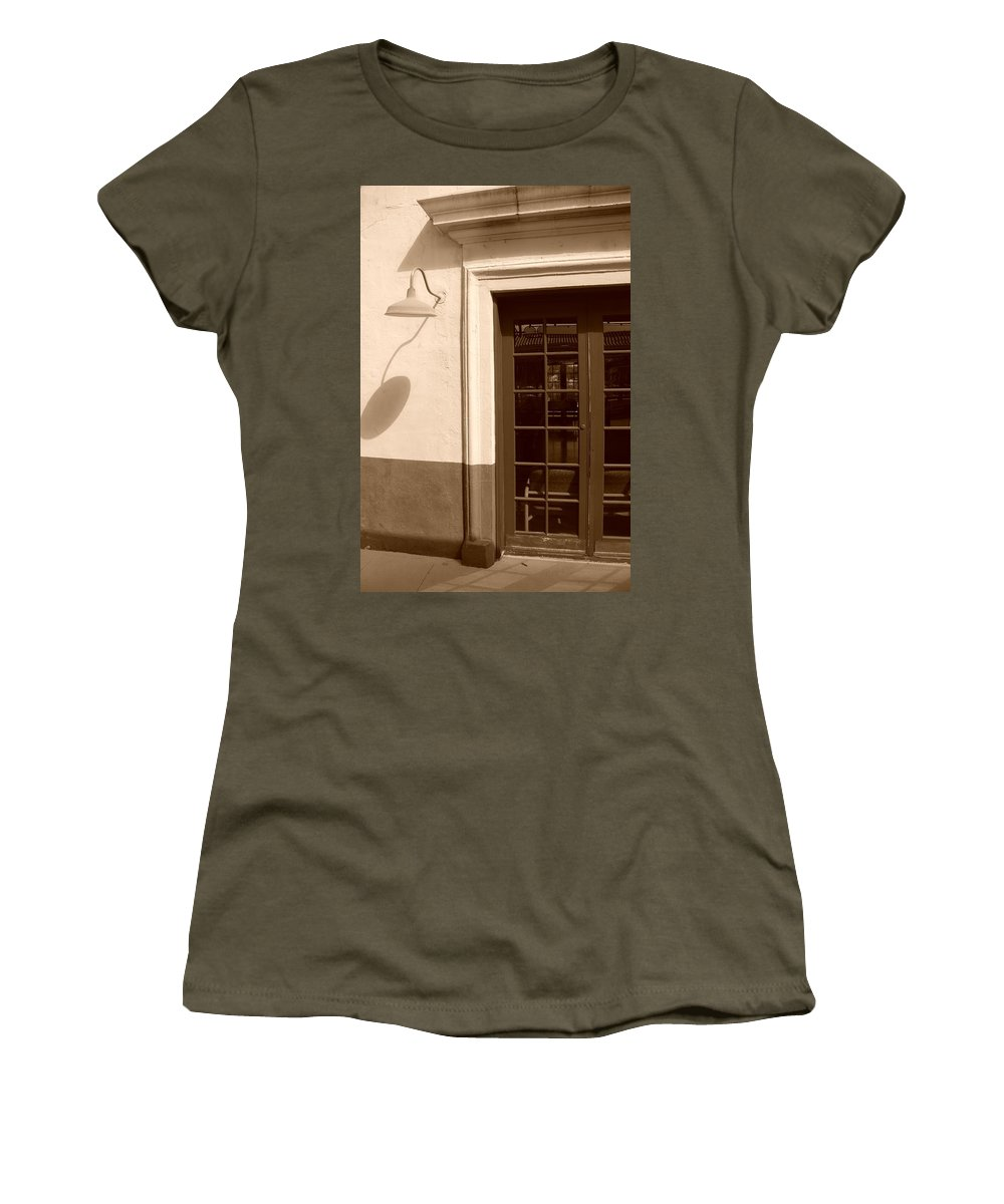 Sepia Women's T-Shirt featuring the photograph Train Station Of The 40s by Rob Hans