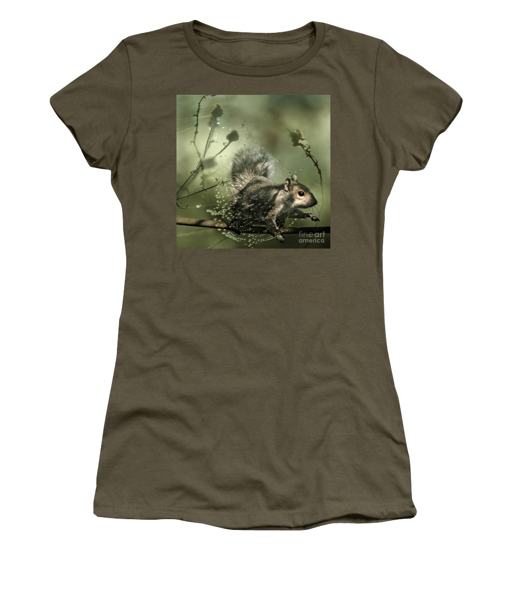 Cobweb Women's T-Shirt (Athletic Fit) featuring the photograph Trapped by Angel Ciesniarska