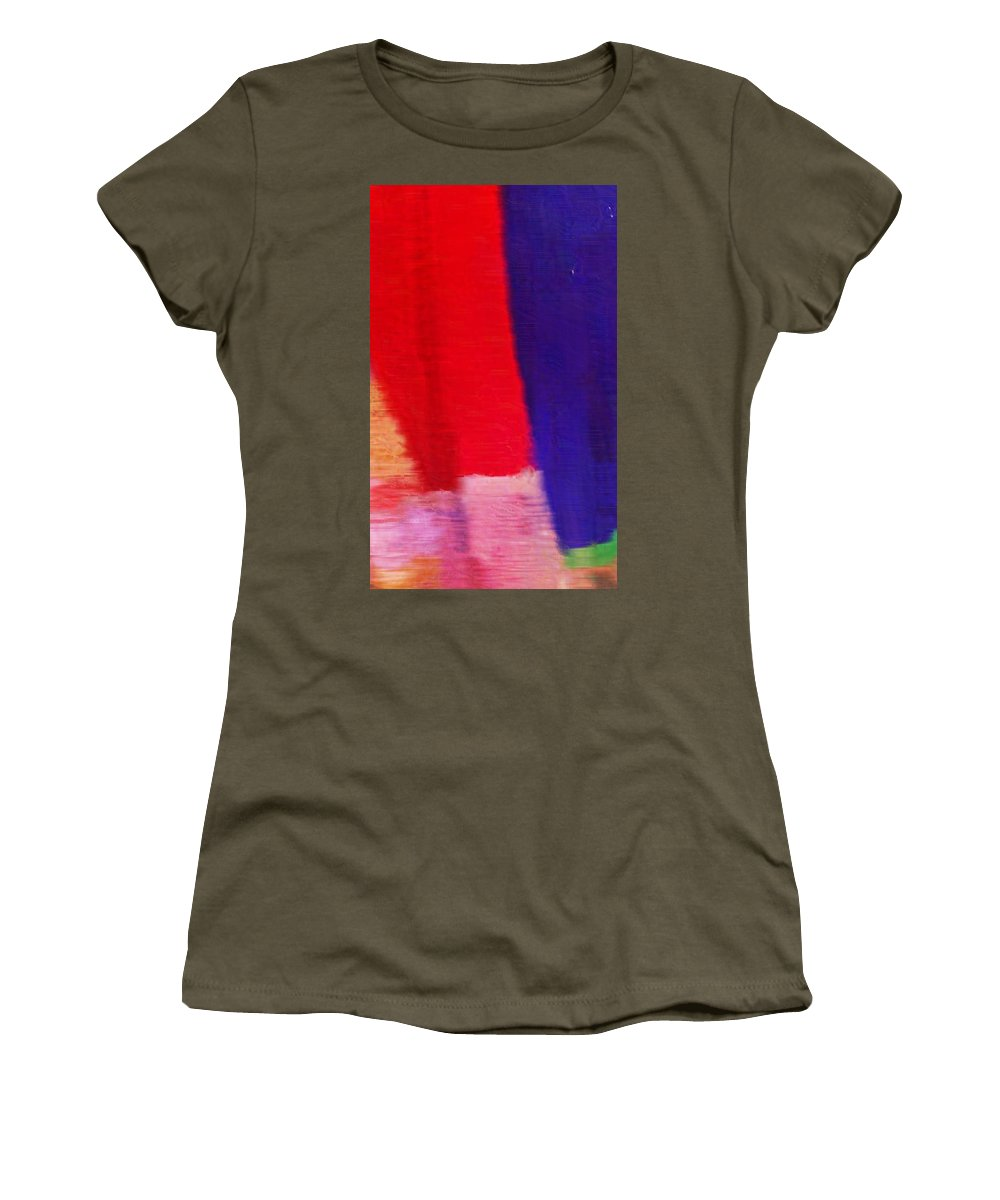 Abstract Women's T-Shirt featuring the photograph Travel Shopping Colorful Scarves Abstract Series India Rajasthan 1f by Sue Jacobi