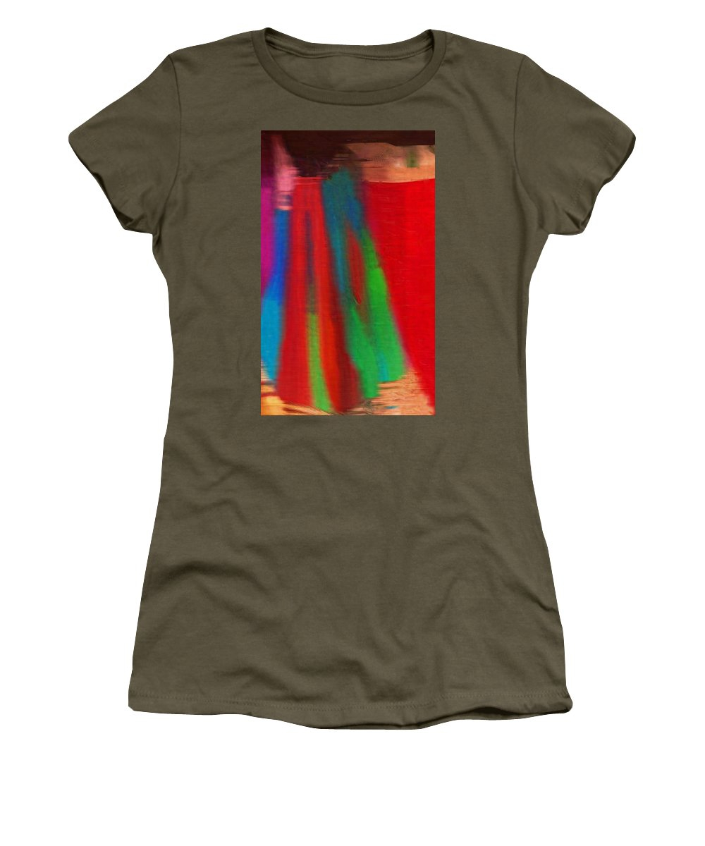 Abstract Women's T-Shirt featuring the photograph Travel Shopping Colorful Scarves Abstract Series India Rajasthan 1g by Sue Jacobi
