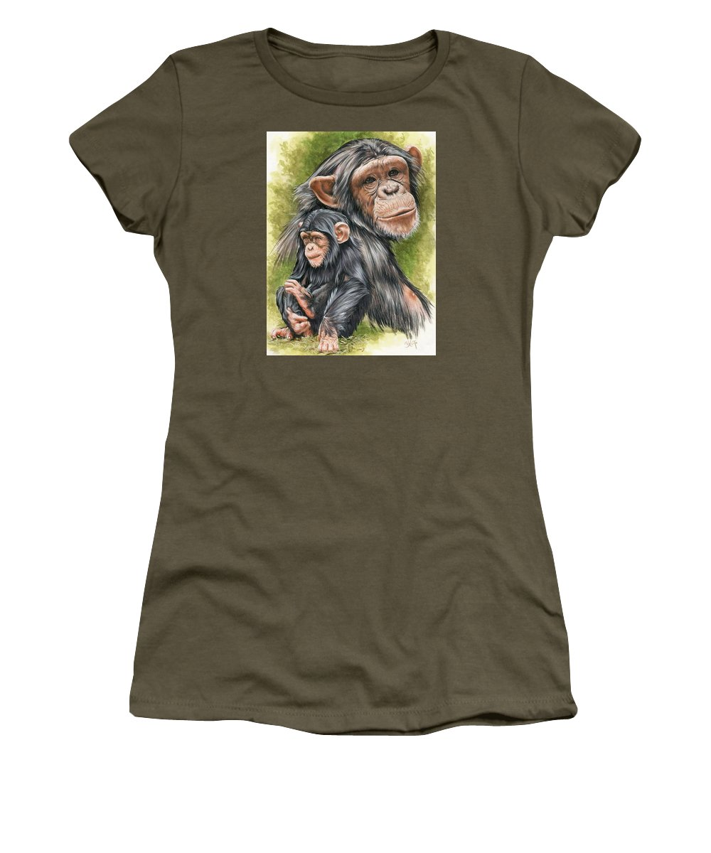Chimpanzee Women's T-Shirt (Athletic Fit) featuring the mixed media Treasure by Barbara Keith