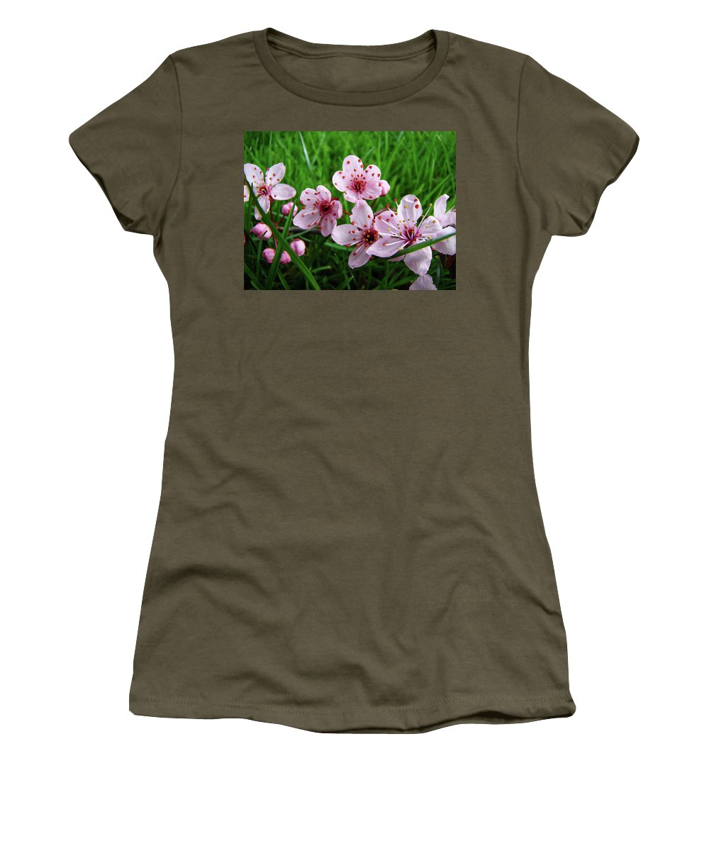 �blossoms Artwork� Women's T-Shirt (Athletic Fit) featuring the photograph Tree Blossoms 4 Spring Flowers Art Prints Giclee Flower Blossoms by Baslee Troutman