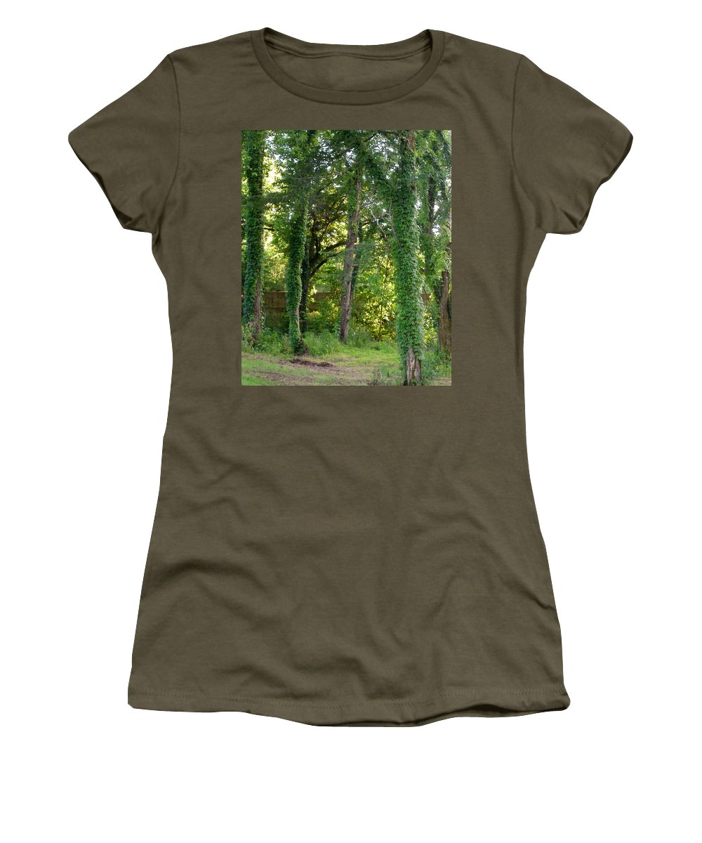 Trees Women's T-Shirt (Athletic Fit) featuring the photograph Tree Cathedral 2 by Anne Cameron Cutri