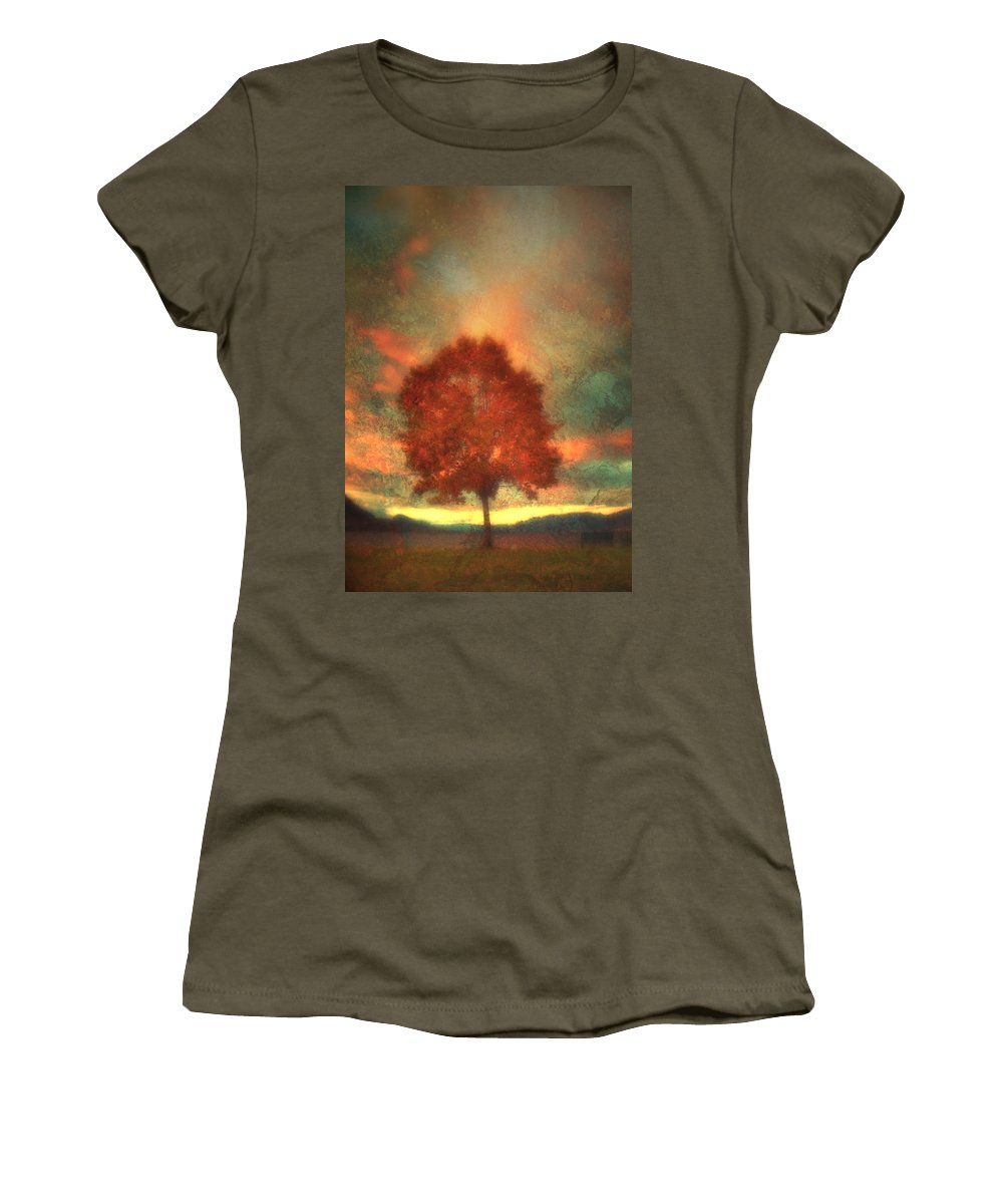Tree Women's T-Shirt featuring the photograph Tree On Fire by Tara Turner