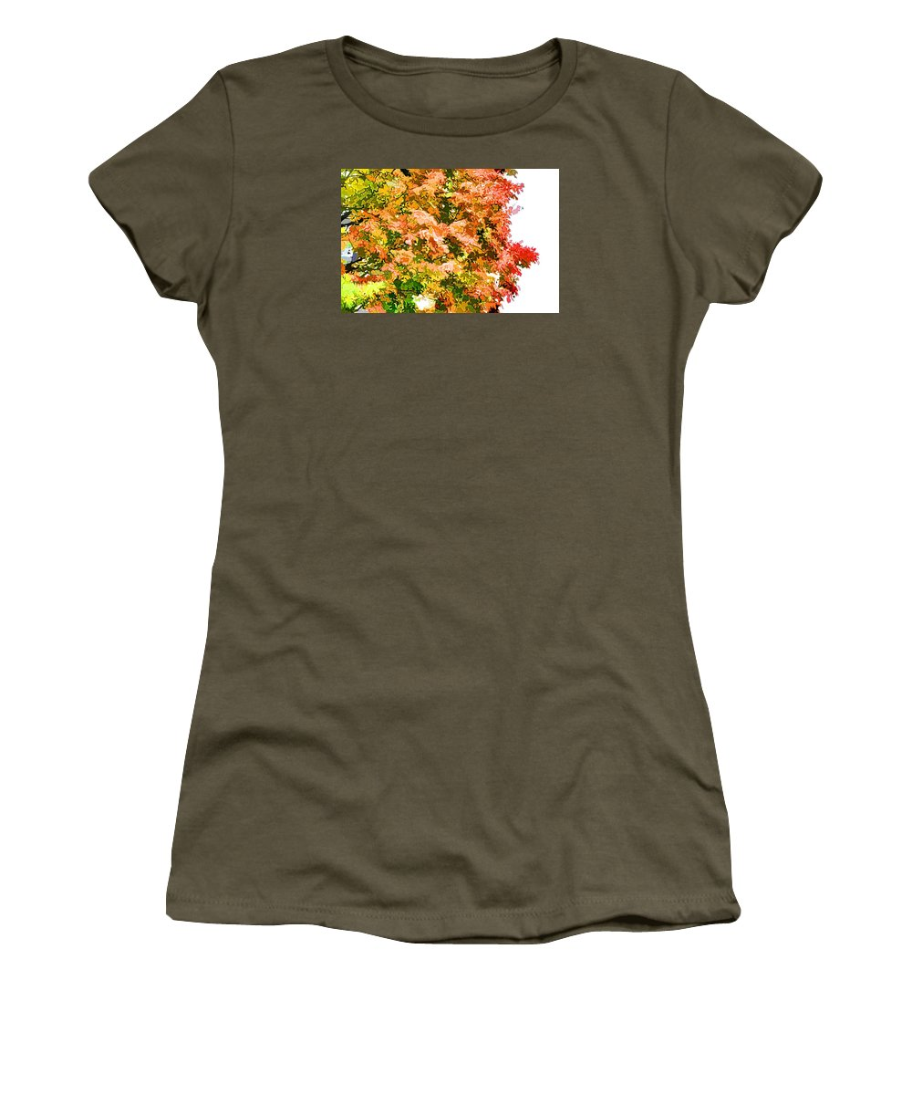 Tree With Autumn Leaves Women's T-Shirt featuring the painting Tree With Autumn Leaves by Jeelan Clark