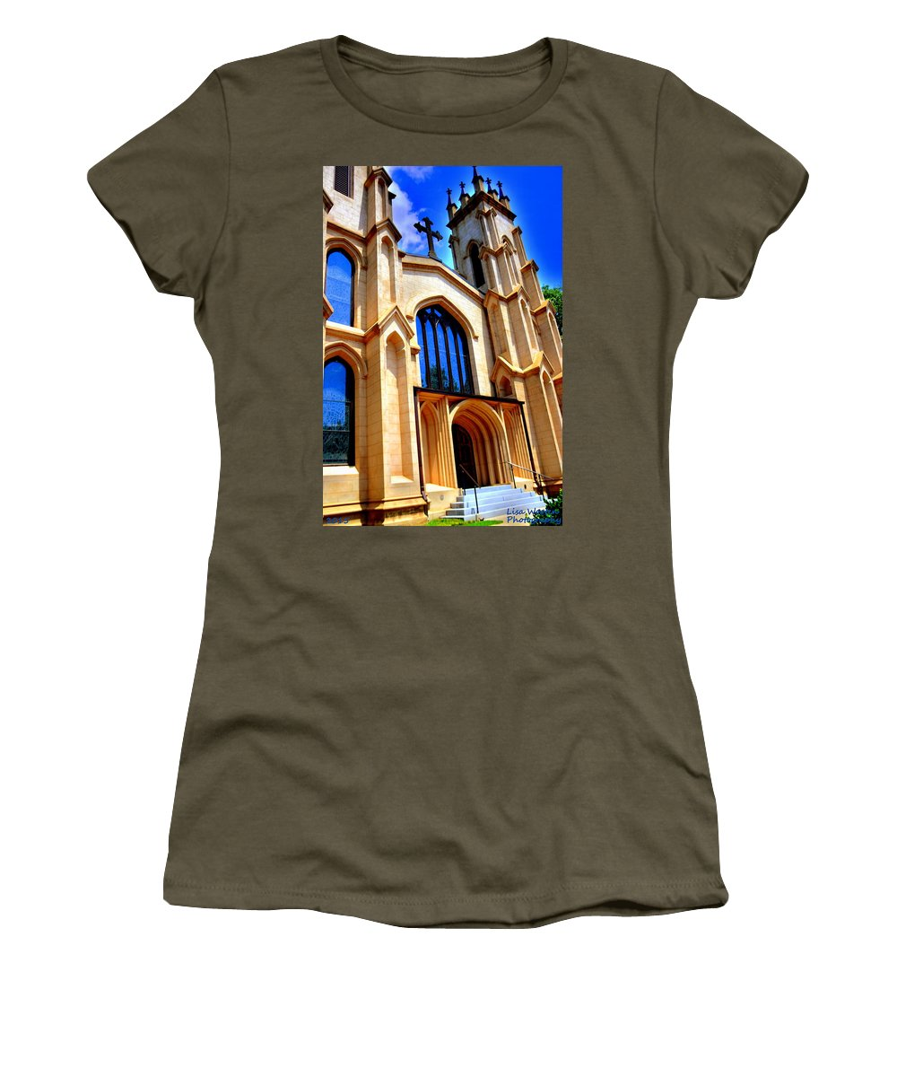 Trinity Episcopal Cathedral Women's T-Shirt featuring the photograph Trinity Episcopal Cathedral Columbia Sc by Lisa Wooten