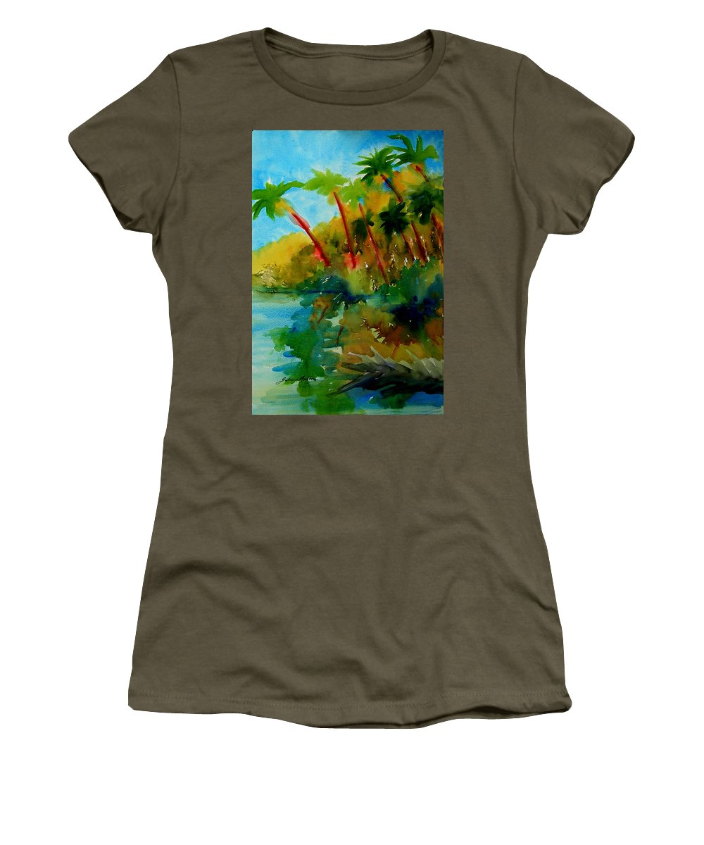 Art Women's T-Shirt featuring the painting Tropical Canal by Julianne Felton