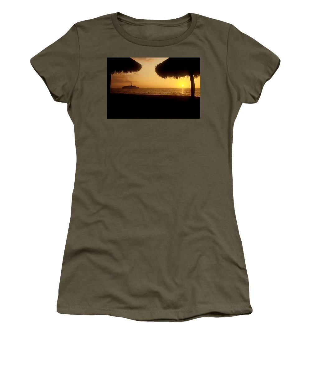 Ship Women's T-Shirt featuring the photograph Tropical Cruise by Jerry McElroy