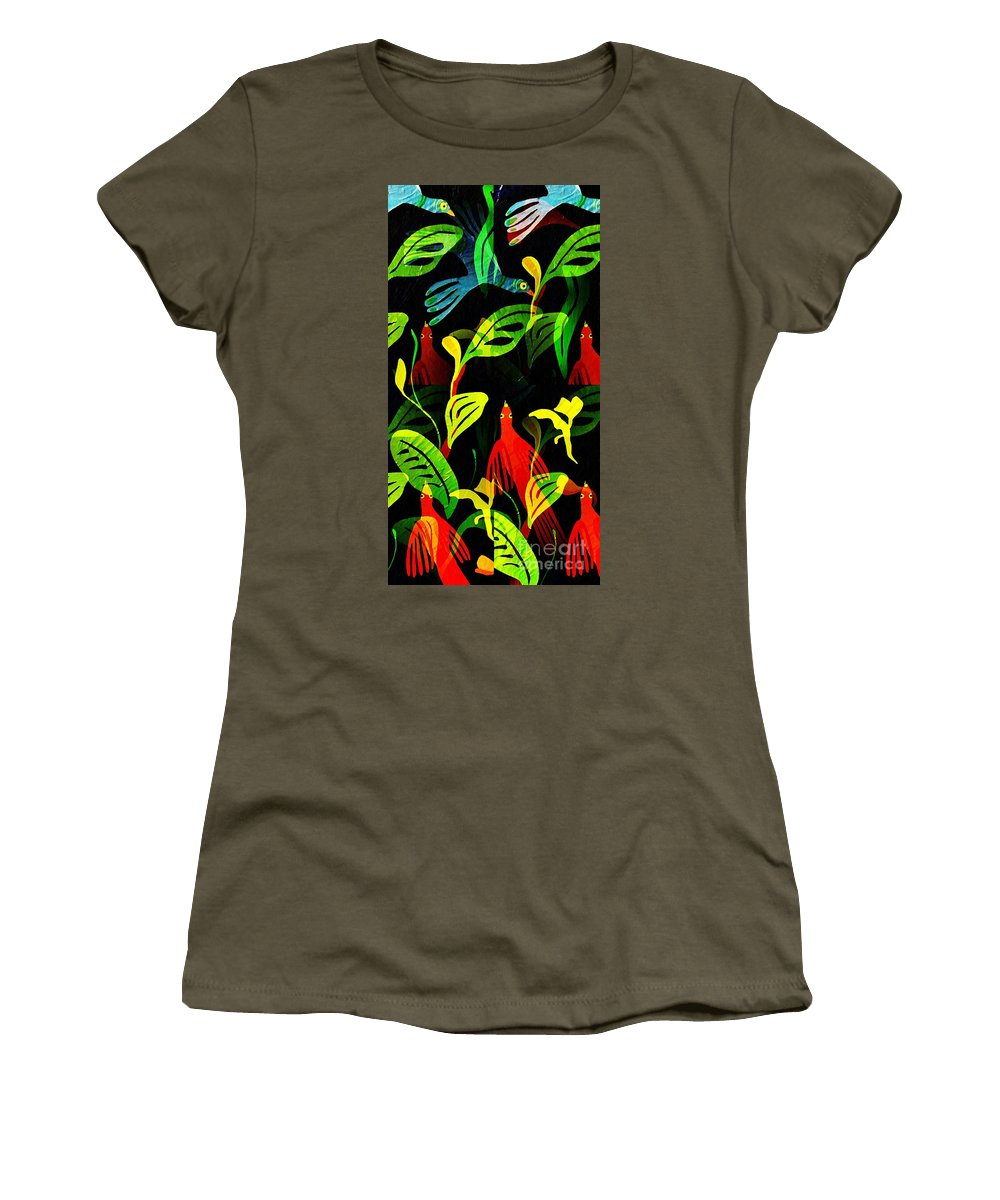 Tropical Women's T-Shirt featuring the mixed media Tropical Flock by Sarah Loft