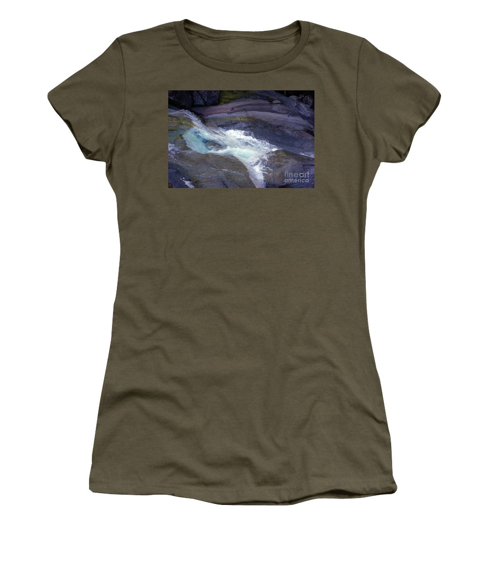 Flowing Women's T-Shirt (Athletic Fit) featuring the photograph Tropical Water Bird Josephine Falls by Kerryn Madsen- Pietsch