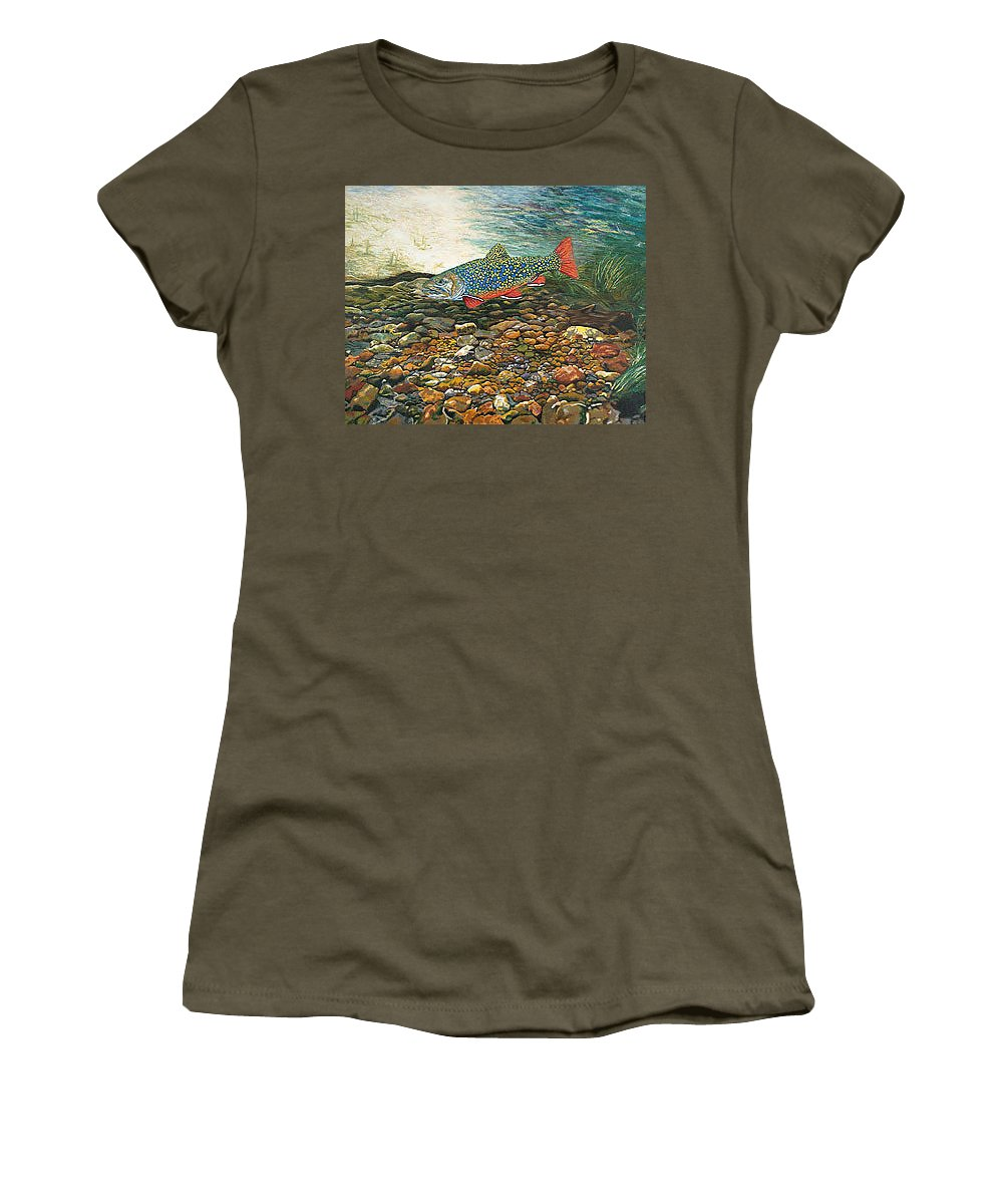 Art Women's T-Shirt (Athletic Fit) featuring the painting Trout Art Fish Art Brook Trout Suspended Artwork Giclee Fine Art Print by Baslee Troutman