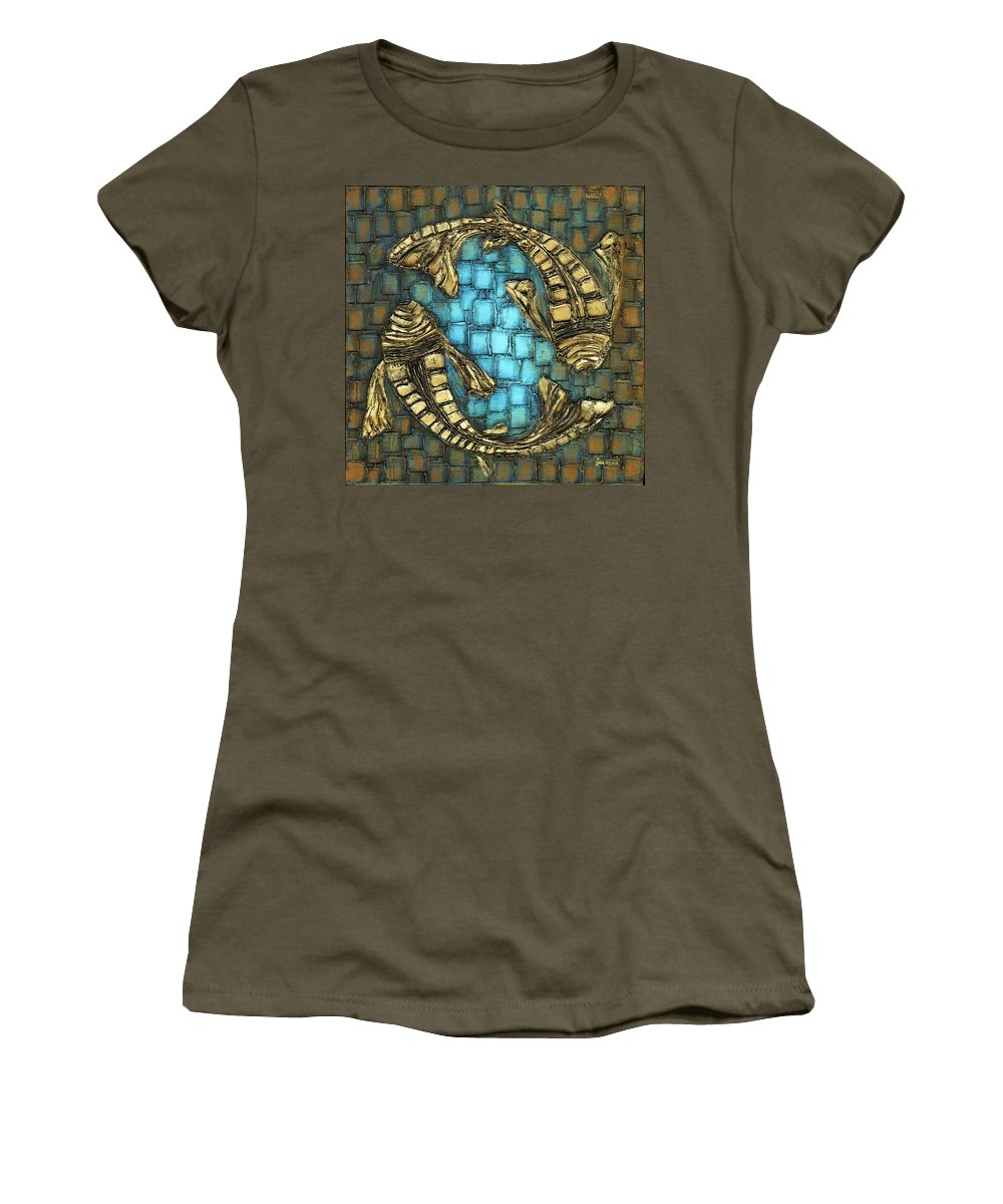 Koi Fish Women's T-Shirt (Athletic Fit) featuring the painting True Love by Susanna Shaposhnikova