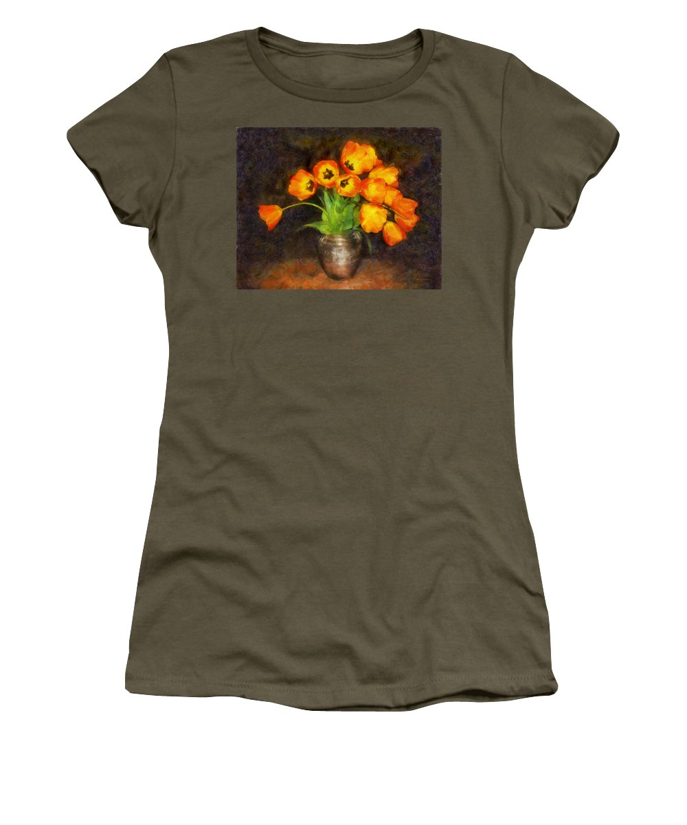 Tulips Women's T-Shirt (Athletic Fit) featuring the digital art Tulip Bouquet by Francesa Miller