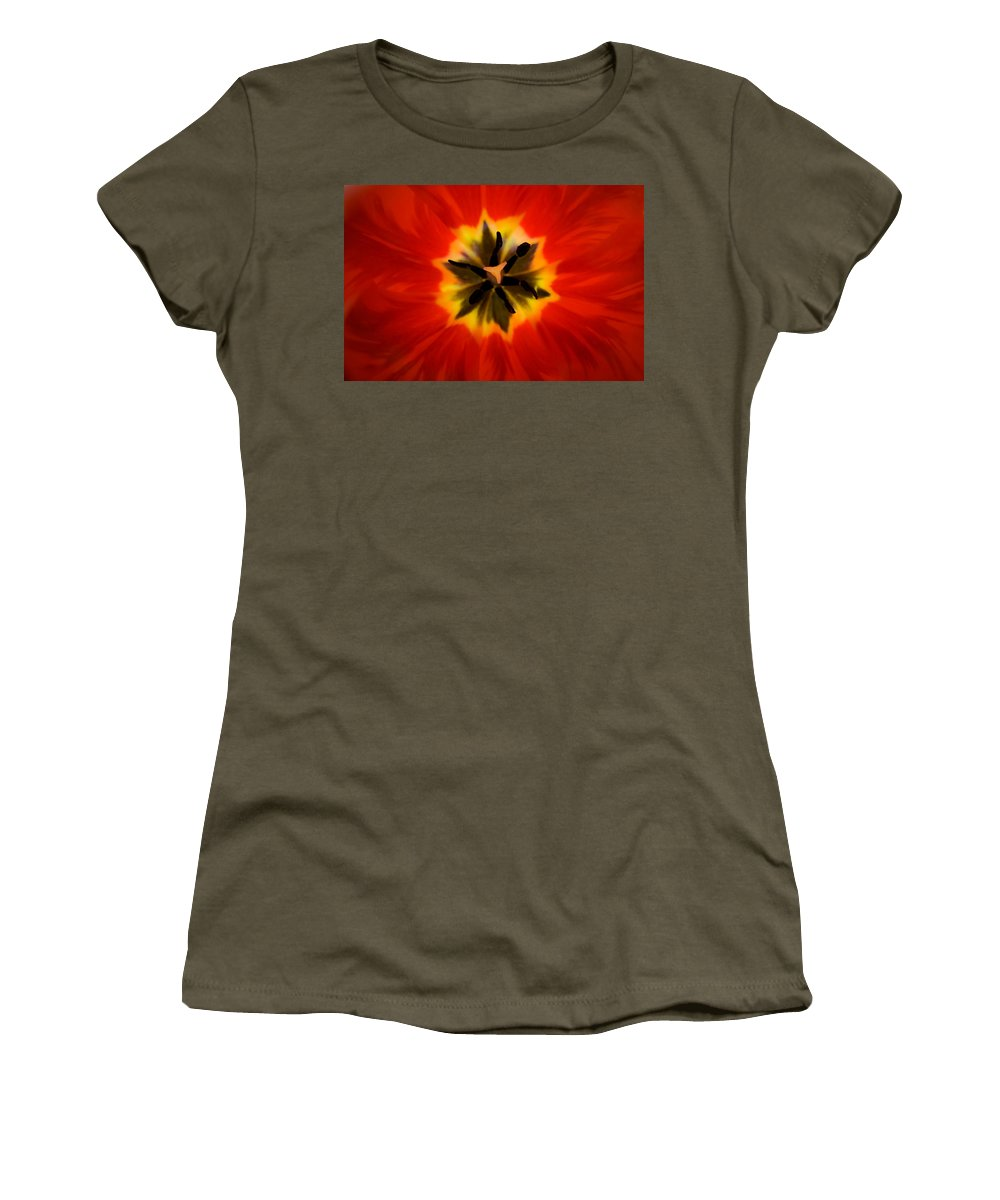 Tulip Women's T-Shirt featuring the photograph Tulip Explosion Kaleidoscope by Teresa Mucha
