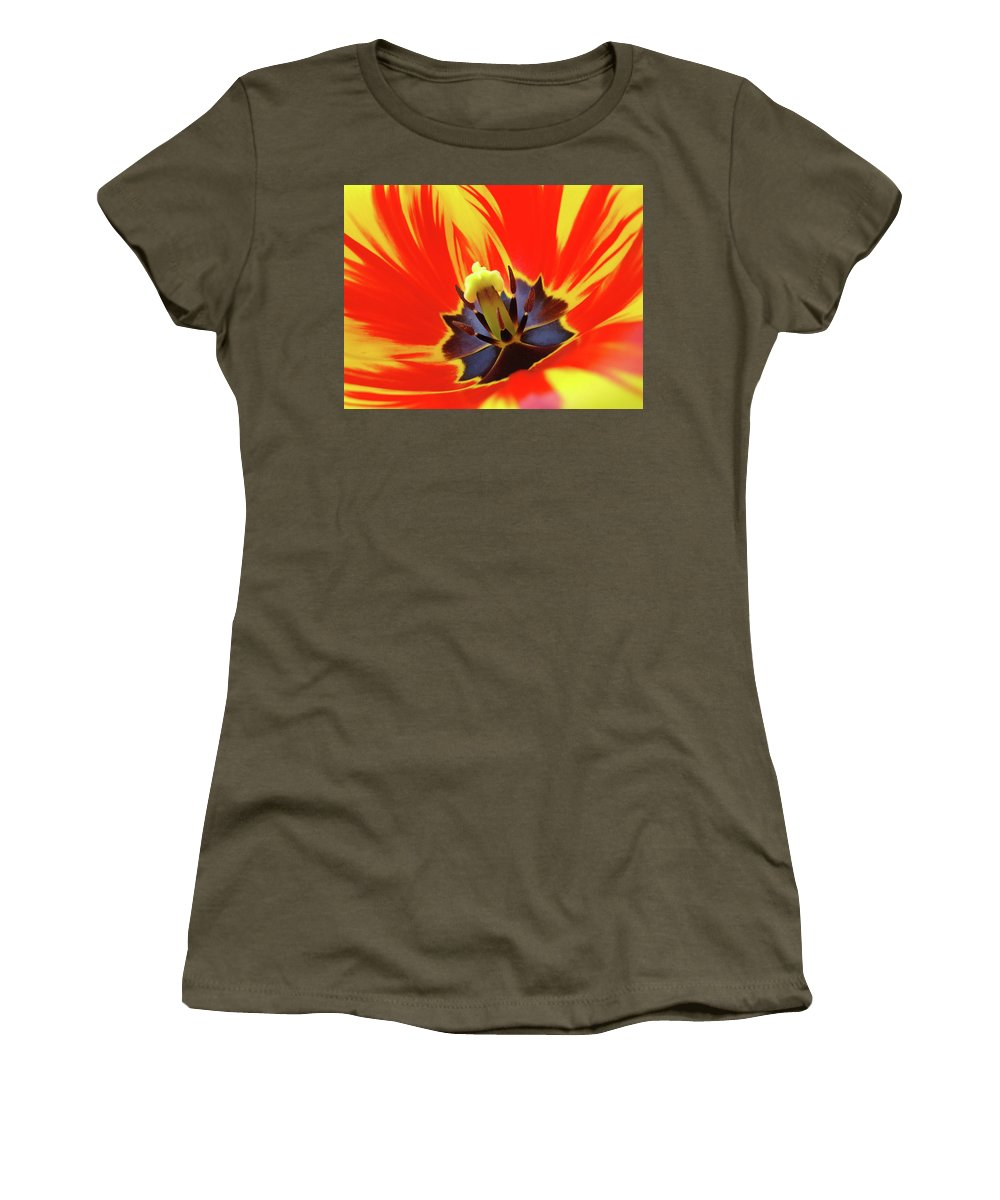 Tulip Women's T-Shirt featuring the photograph Tulip Flower Floral Art Print Red Yellow Tulips Baslee Troutman by Baslee Troutman