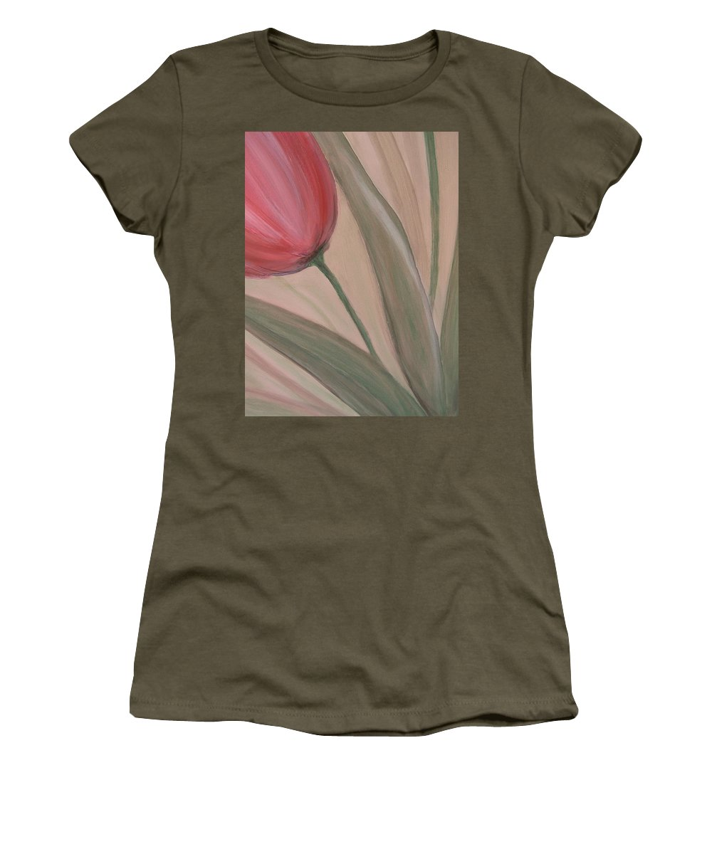 Tulips Women's T-Shirt (Athletic Fit) featuring the painting Tulip Series 2 by Anita Burgermeister