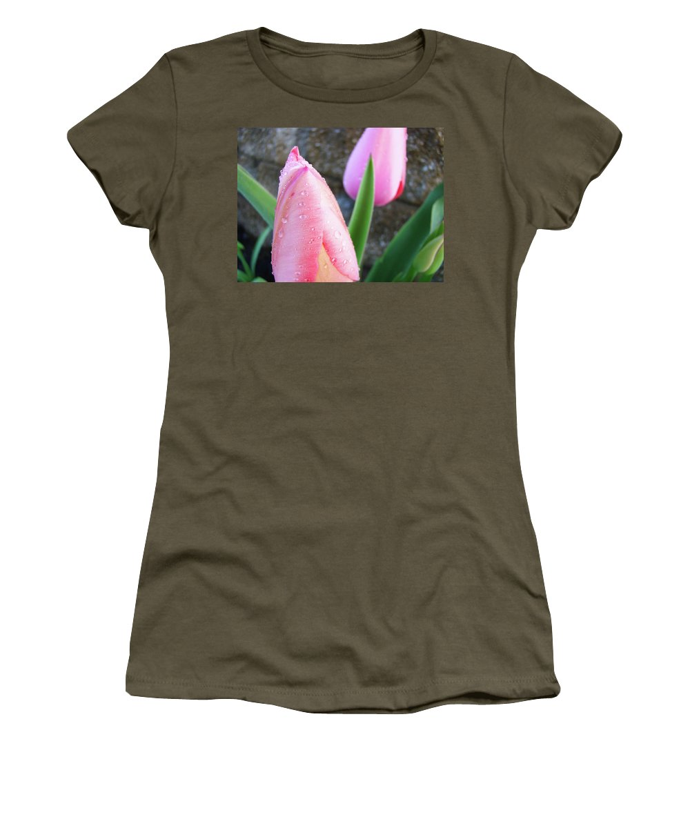�tulips Artwork� Women's T-Shirt featuring the photograph Tulips Artwork Pink Tulip Flowers Srping Florals Art Prints Baslee Troutman by Baslee Troutman