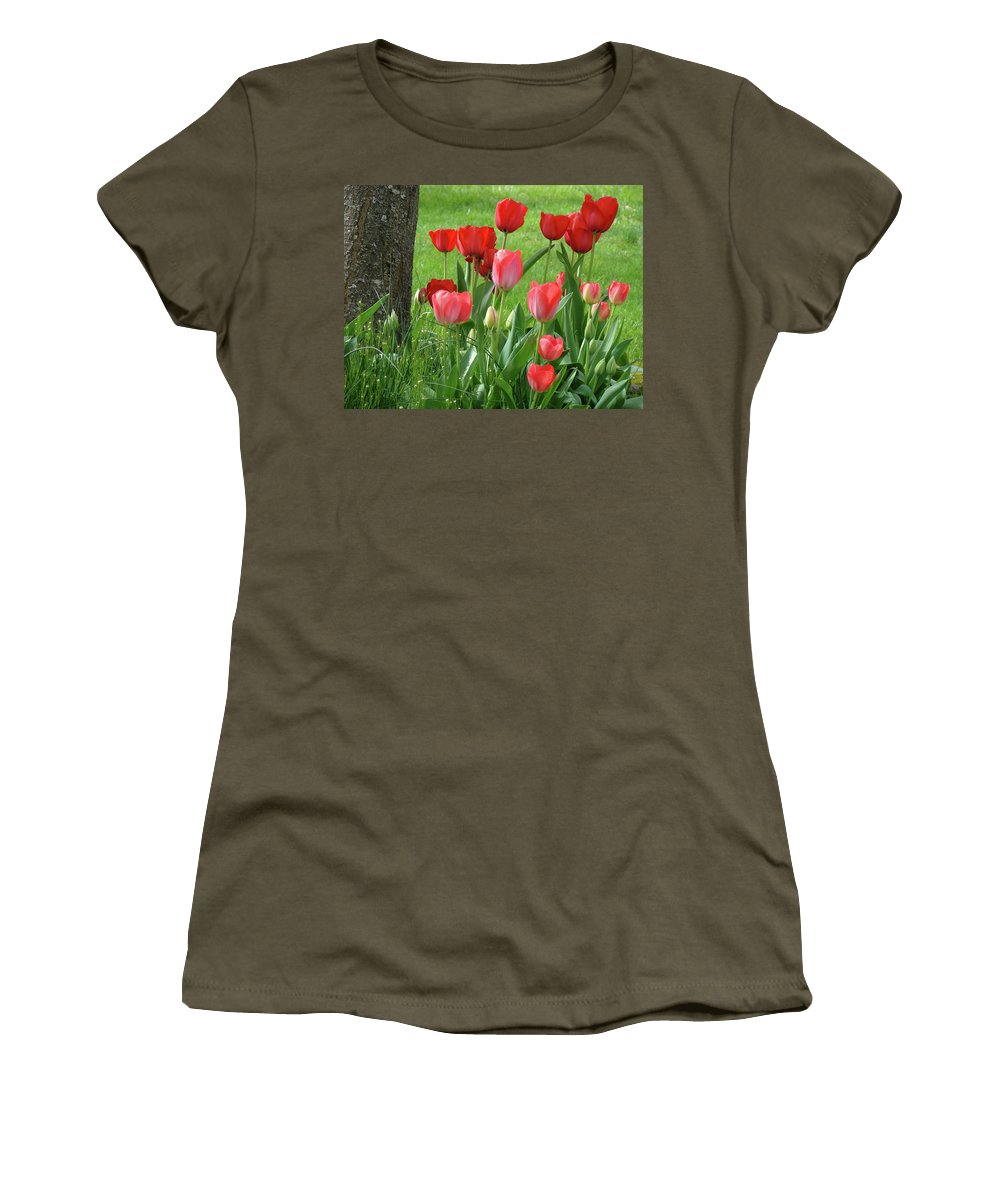 �tulips Artwork� Women's T-Shirt (Athletic Fit) featuring the photograph Tulips Flowers Art Prints Spring Tulip Flower Artwork Nature Art by Baslee Troutman