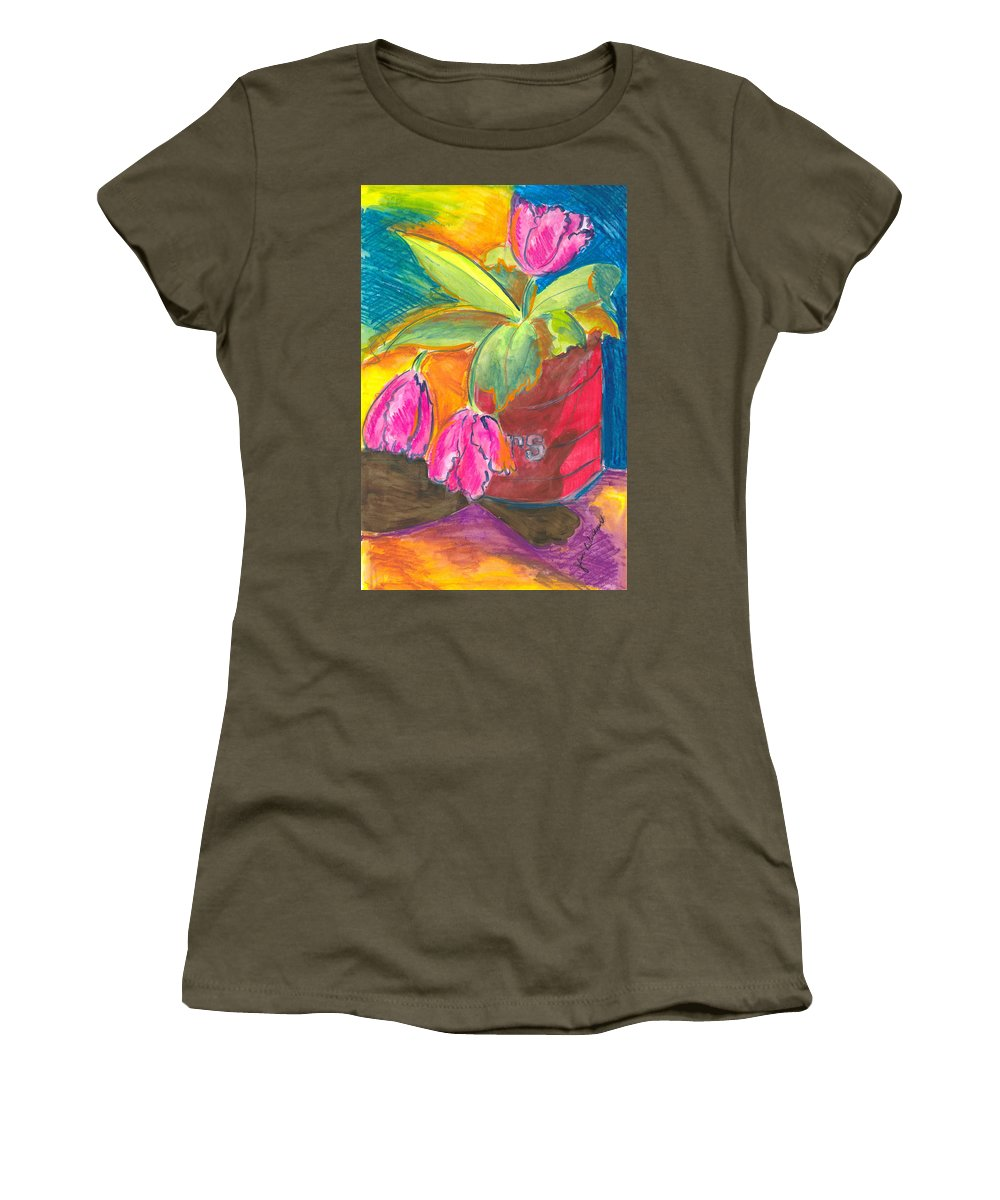Flowers Women's T-Shirt (Athletic Fit) featuring the painting Tulips In Can by Jean Blackmer
