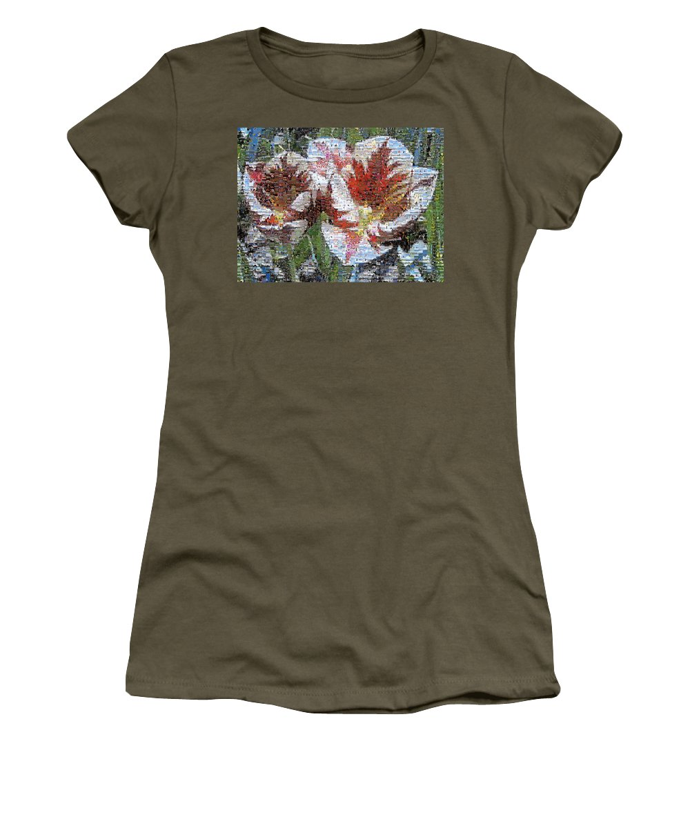 Lighthouse Women's T-Shirt (Athletic Fit) featuring the photograph Tulips In Springtime Photomosaic by Michelle Calkins