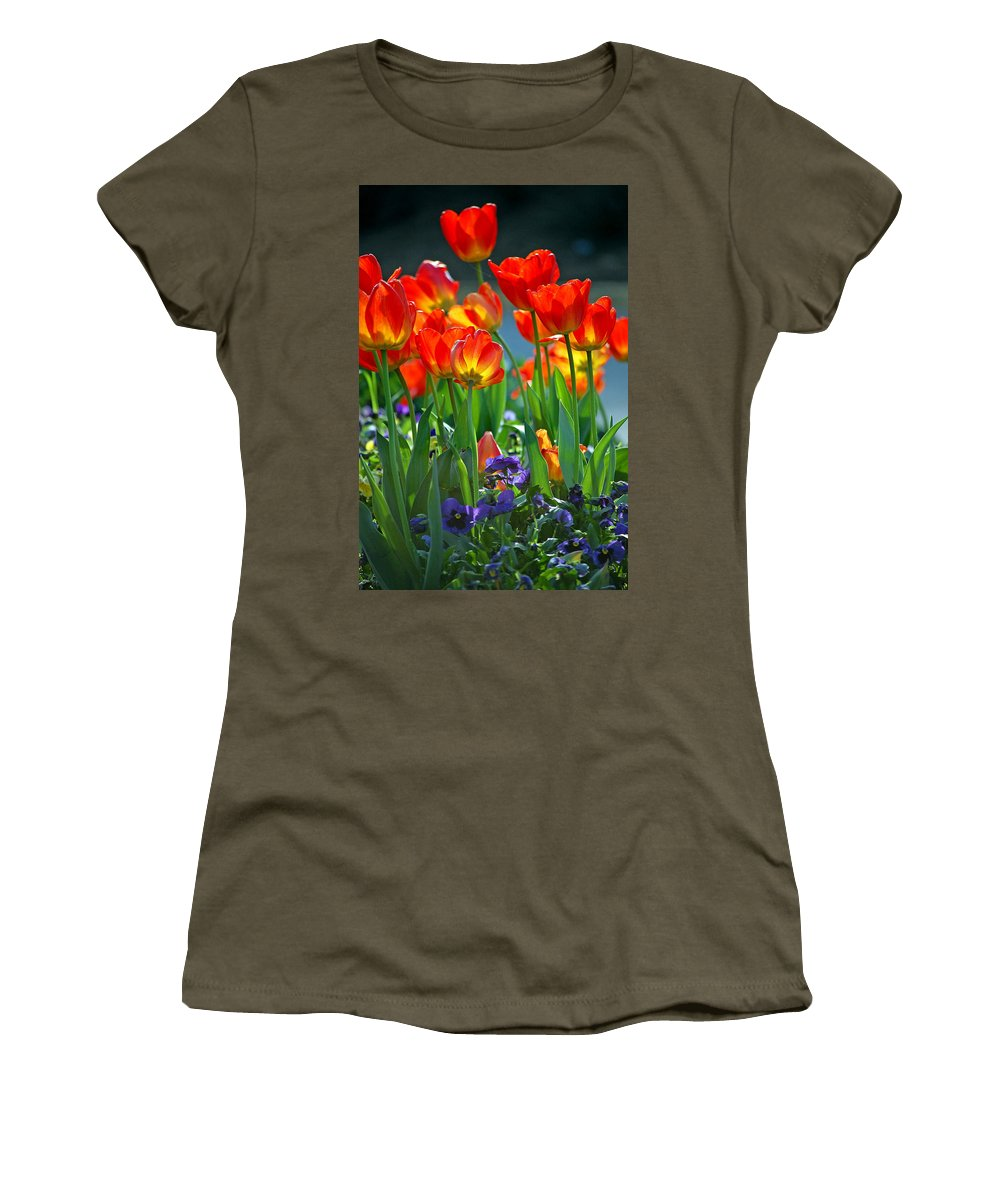Flowers Women's T-Shirt (Athletic Fit) featuring the photograph Tulips by Robert Meanor