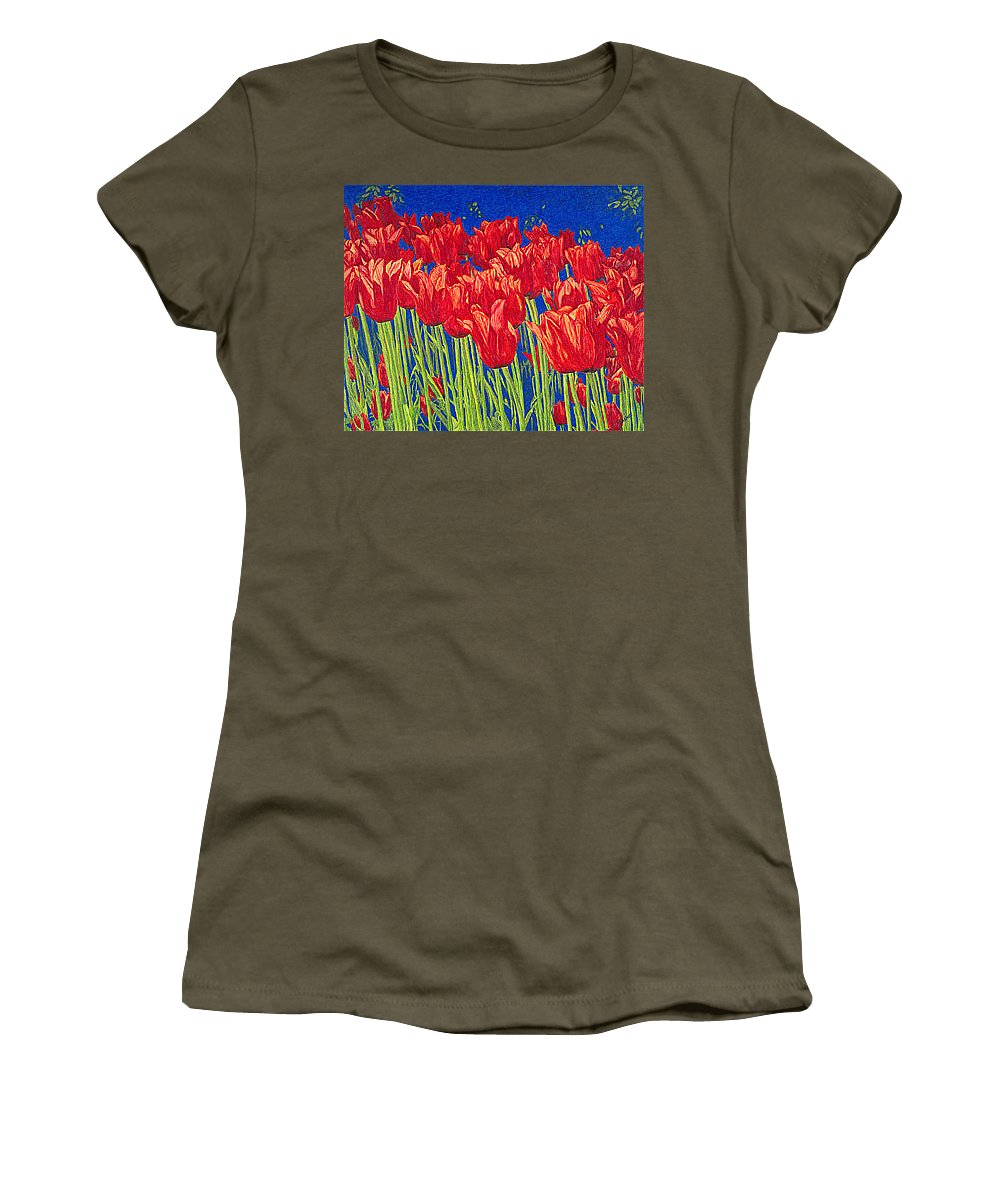Tulips Women's T-Shirt featuring the drawing Tulips Tulip Flowers Fine Art Print Giclee High Quality Exceptional Color Garden Nature Botanical by Baslee Troutman