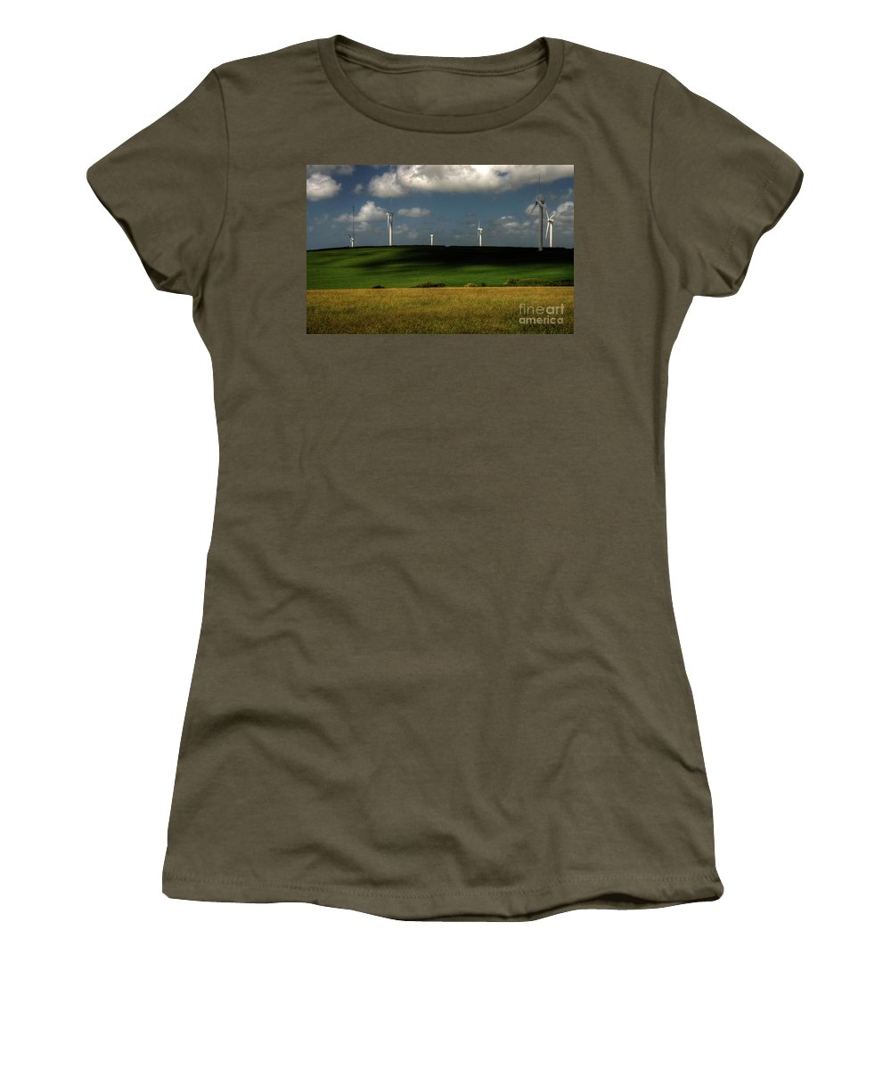 Wind Turbines Nr Goonhaven Women's T-Shirt featuring the photograph Turbines At Goonhaven by Rob Hawkins