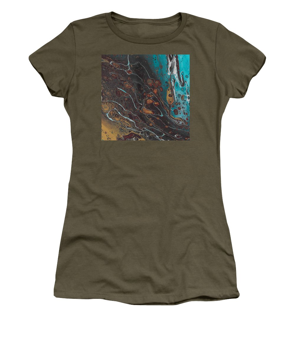 Blue Women's T-Shirt featuring the painting Turq's And Carnelian by Nicole Hall