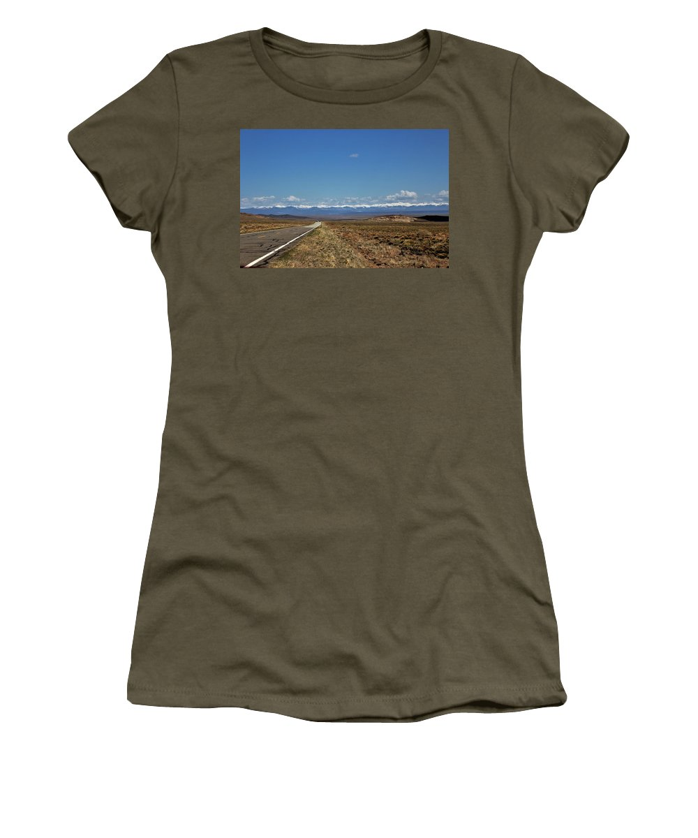 Women's T-Shirt featuring the photograph Turquoise Mine Off Hwy 142 by Carla Larson