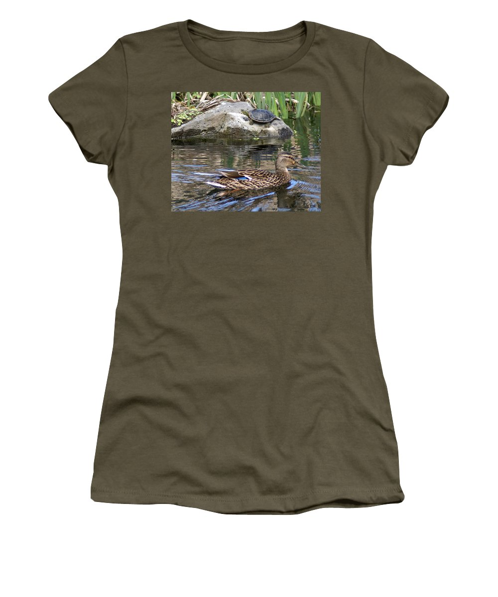 Spokane Women's T-Shirt featuring the photograph Turtle And Duck by Ben Upham III