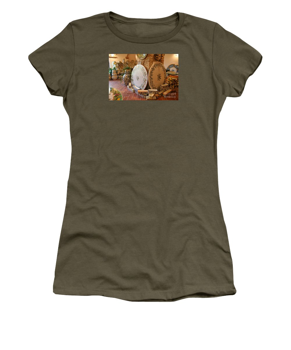 Pottery Women's T-Shirt (Athletic Fit) featuring the photograph Tuscan Pottery by Christiane Schulze Art And Photography