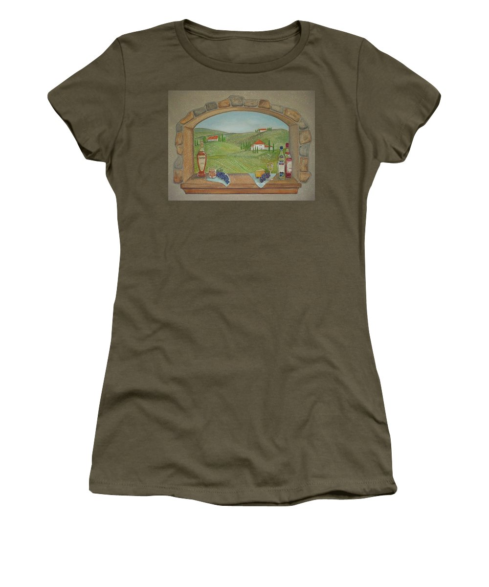 Mural Women's T-Shirt (Athletic Fit) featuring the painting Tuscan Window View by Anita Burgermeister