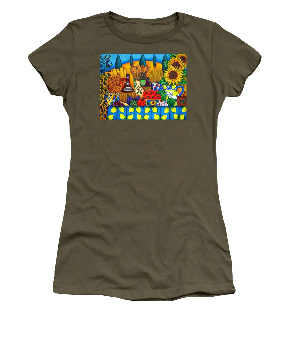 Still Life Women's T-Shirt (Athletic Fit) featuring the painting Tuscany Delights by Lisa Lorenz