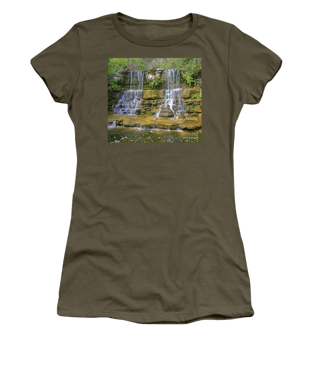 Waterfalls Women's T-Shirt (Athletic Fit) featuring the photograph Twin Falls by Robert Pearson