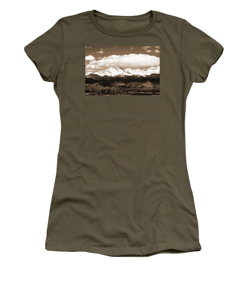 Twin Peeks Women's T-Shirt featuring the photograph Twin Peaks In Sepia by James BO Insogna