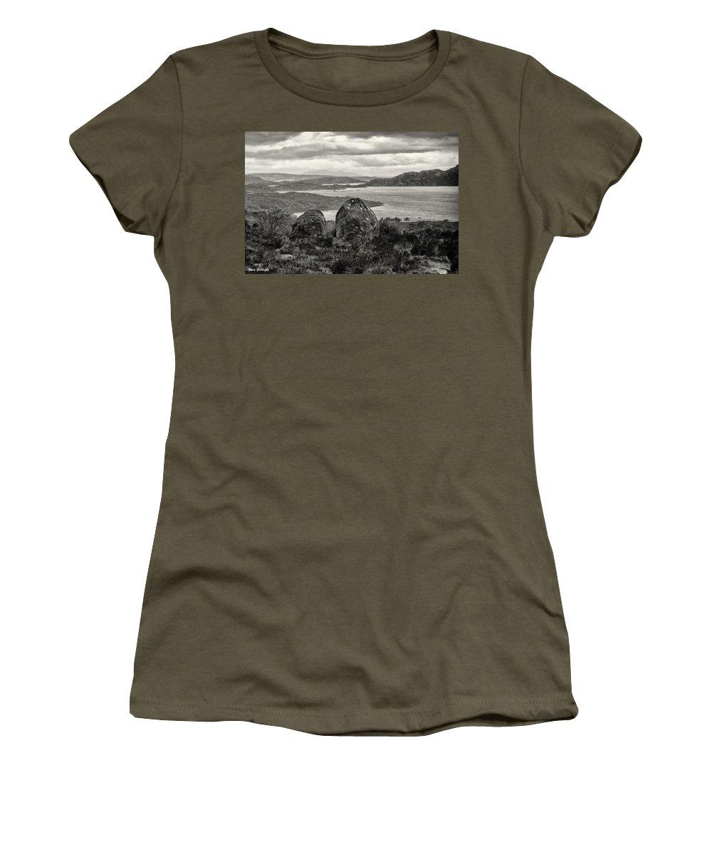 Rocks Women's T-Shirt featuring the photograph Twin Rocks by Fran Gallogly