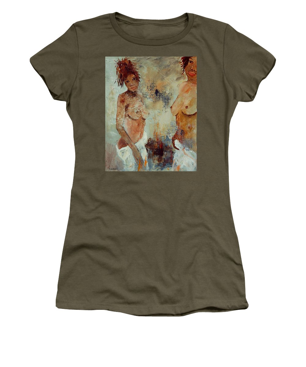 Girl Nude Women's T-Shirt featuring the painting Two Black Sisters by Pol Ledent