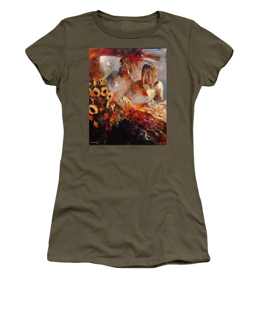 Girl Nude Women's T-Shirt featuring the painting Two Friends by Pol Ledent