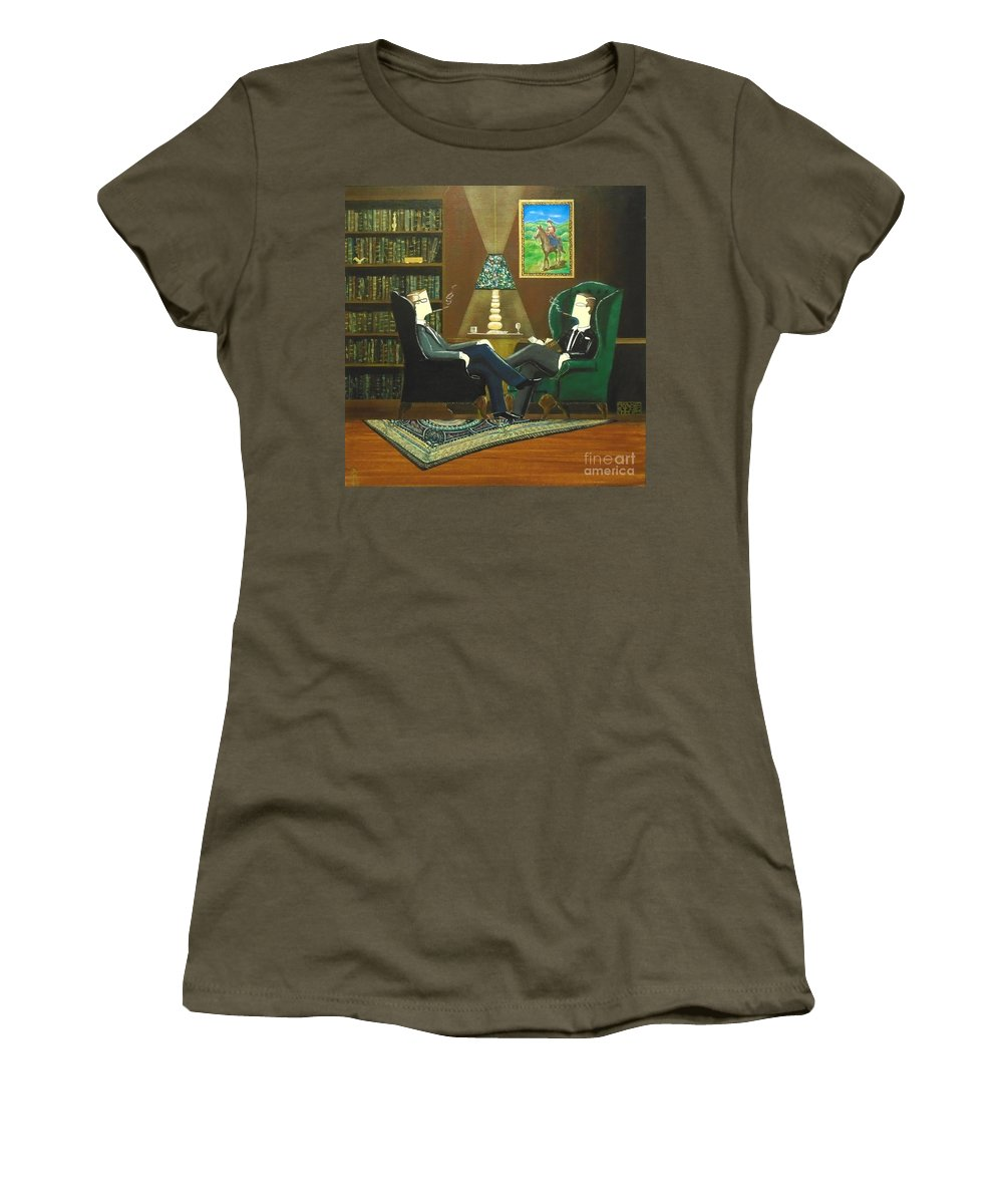 John Lyes Women's T-Shirt featuring the painting Two Gentlemen Sitting In Wingback Chairs At Private Club by John Lyes
